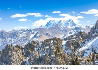 Bogda under blue sky in winter
