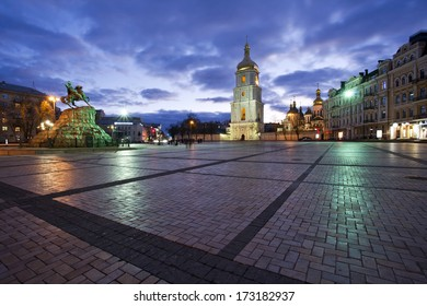 Bogdan Chmelnitsky's statue on the brick Sofia Kievskaya square in evening in Kiev