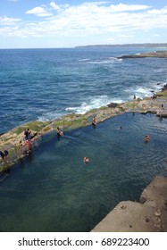 The Bogey Hole, Newcastle, NSW Australia. Also known as Commandant's Baths, it was built by convicts in the 1820's for the use of the Commandant of Newcastle, Lieutenant-Colonel James Thomas Morisset.