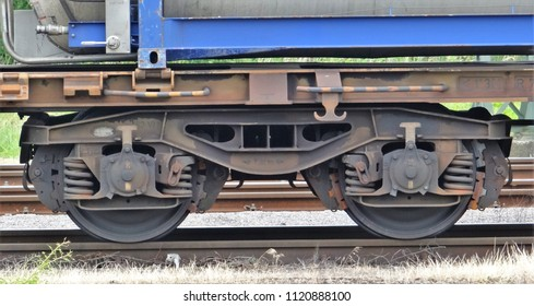 The bogie / wheels of a freight wagon train on a railroad track in Emmerich in Germany