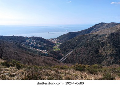 Bogliasco village aerial view panorama from Fasce mountain liguria italy
