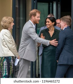 Bognor Regis, West Sussex / UK - 3rd October 2018: Their Royal Highnesses the Duke & Duchess of Sussex open the University (Chichester) Tech Park. Megan gives Harry a friendly slap for teasing.