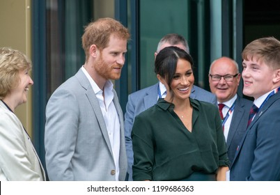Bognor Regis, West Sussex / UK - 3rd October 2018: Their Royal Highnesses the Duke & Duchess of Sussex open the University (Chichester) Tech Park.