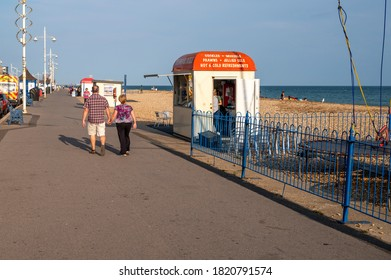 Bognor Regis, West Sussex, UK, September 20, 2020. The promenade by the seafront in Bognor Regis in late summer with tourists enjoying cycling and walking.
