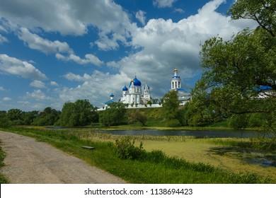 Bogolyubovo village, Suzdal district, Vladimir region, Russia. Panorama of Bogolyubsky monastery.