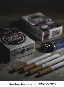 Bogor, Indonesia - 5 May 2018: Lucky Strike cigarettes that have been opened and placed on the table