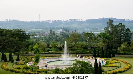 BOGOR, INDONESIA - AUGUST 3, 2016: Water fountain at Taman Bunga Nusantara, Bogor, Indonesia.