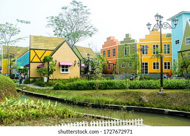 Bogor, Indonesia - March 18, 2018 : Devoyage Bogor is one of the tourist attractions in Bogor with typical European buildings, world icons such as the Paris Eiffel Tower and the Dutch Windmill