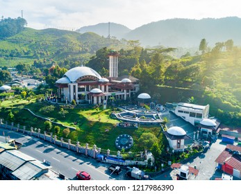 Bogor, Indonesia - October 17, 2018: Aerial View of Atta'awun Mosque (Masjid Atta'awun) Puncak Pass, West Java