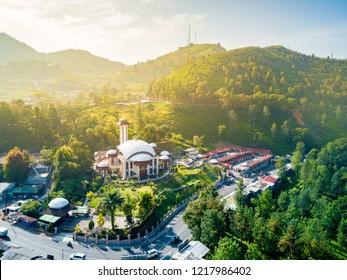 Bogor, Indonesia - October 17, 2018: Aerial View of Atta'awun Mosque (Masjid Atta'awun) Puncak Pass, West Java