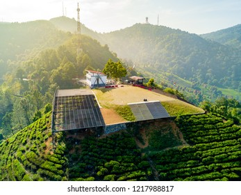 Bogor, Indonesia - October 17, 2018: Aerial View of Paragliding Flying Site, Asian Games 2018 Venue, Gunung Mas, Puncak Pass, West Java