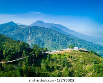 Bogor, Indonesia - October 17, 2018: Aerial View of Paragliding Flying Site, Asian Games 2018 Venue, Gunung Mas, Puncak Pass, West Java