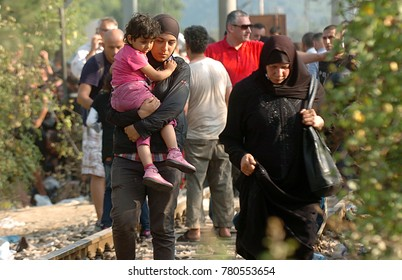 Bogorodica, Gevgelija, Macedonia, August 21 2015: Refugees and migrants in the vicinity of Macedonia and Greece border, near the Macedonian village of Gevgelija.