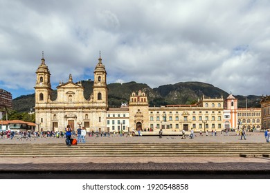 Bogota, Colombia. 06-15-2019 tourists and local people walking through the main square of Bogotá
