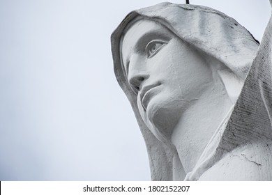Bogota, Colombia 10/10/2019 - Guadalupe Virgin Statue sanctuary in Bogota mountains