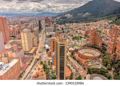 Bogota, Colombia - April 2019 : Cityscape in cloudy weather, HDR image