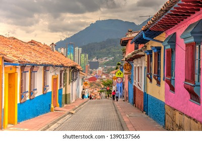 Bogota, Colombia - April 2019 : Historical center in cloudy weather, HDR image