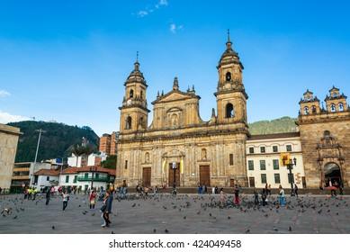 BOGOTA, COLOMBIA - APRIL 21: Activity in the Plaza de Bolivar in Bogota, Colombia on April 21, 2016