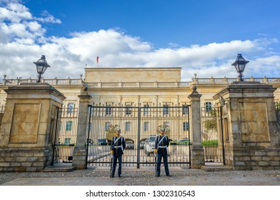 BOGOTA, COLOMBIA - APRIL 21: Guards stand in front of the presidential palace, known as the Casa de Narino, in Bogota, Colombia on April 21, 2016