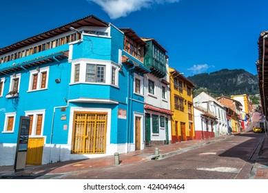 BOGOTA, COLOMBIA - APRIL 21: View of a street corner in La Candelaria neighborhood in Bogota, Colombia on April 21, 2016