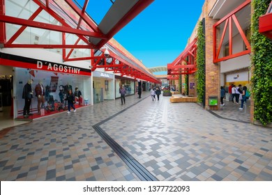 Bogota, Colombia April 22 detail of  the interior mall named Plaza de las America located in the center of Bogota full of fashion shops, restaurants and bars.  Shoot on April 22, 2019