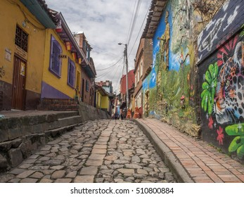 Bogota, Colombia - April 29, 2016:  Colored walls of houses in Bogota