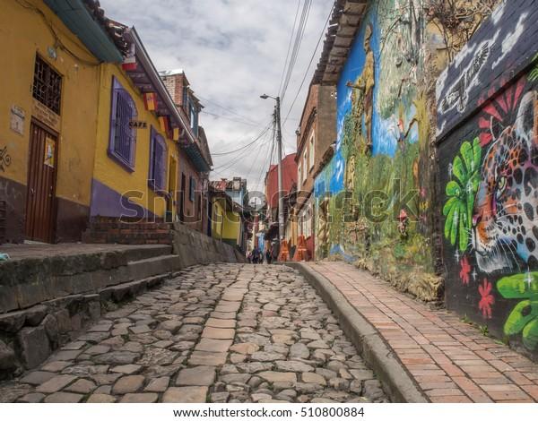 Bogota, Colombia - April 29, 2016:  Colored walls of houses in Bogota. Bogotá. Kolumbia. Latin America