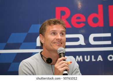 BOGOTA, COLOMBIA - APRIL 9: Scottish driver David Coulthard during press conference introducing the Red Bull Circuit Bogota 2010 on April 9, 2010 in Bogota, Colombia.