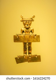 Bogota, Colombia - August 01, 2014: Pre-Columbian gold artifact on display in the Museo del Oro. The Museum of Gold is a museum located in Bogota, Colombia.