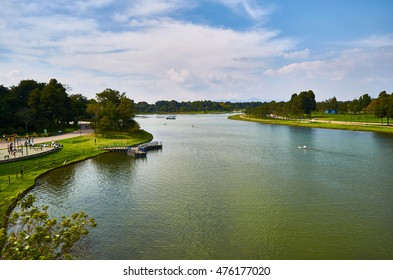 BOGOTA, COLOMBIA - FEBRUARY 6, 2014: A view of the lake of the Simon Bolivar Park in Bogota, and people kayaking on it.