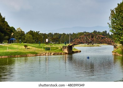 BOGOTA, COLOMBIA - FEBRUARY 6, 2014: A view of the lake of the Simon Bolivar Park in Bogota.
