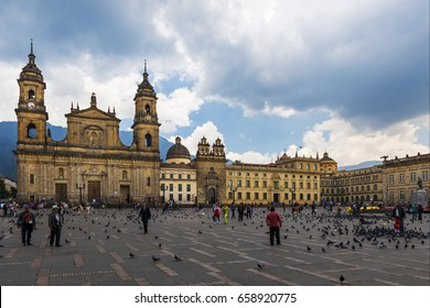 Bogota, Colombia - February 6, 2014: View of the Bolivar Square with the Archbishopric Cathedral of Bogota in the background in the city of Bogota, Colombia, South America