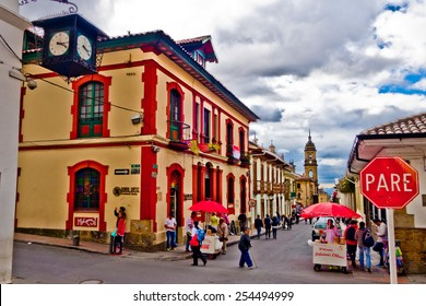 BOGOTA, COLOMBIA - FEBRUARY 9, 2015: La Candelaria, colonial neighborhood that is a cultural and historical landmark in Bogota, Colombia