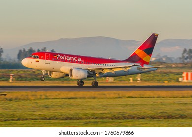 Bogota, Colombia - January 25, 2018: Colombian carrier Avianca's Airbus A318 landing at Eldorado airport in Bogota, Colombia