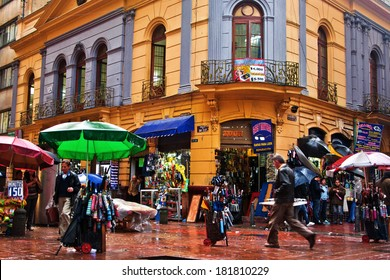 BOGOTA, COLOMBIA - JANUARY 27: People pass by a busy street corner in Bogota, Colombia on January 27, 2012