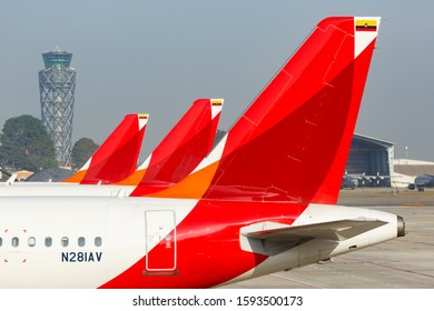 Bogota, Colombia – January 30, 2019: Avianca Airbus airplane Tails at Bogota airport (BOG) in Colombia. Airbus is a European aircraft manufacturer based in Toulouse, France.