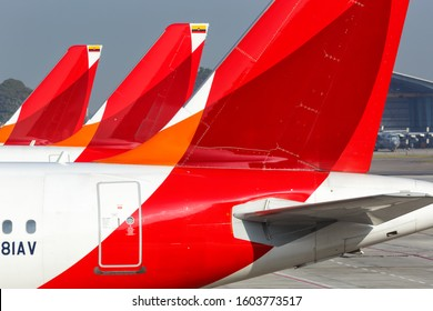 Bogota, Colombia – January 30, 2019: Avianca Airbus airplanes at Bogota airport (BOG) in Colombia. Airbus is a European aircraft manufacturer based in Toulouse, France.