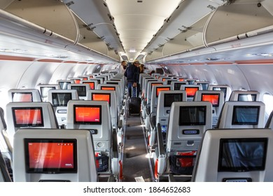 Bogota, Colombia - January 30, 2019: Avianca Airbus A321neo airplane cabin at Bogota Airport (BOG) in Colombia. Airbus is a European aircraft manufacturer based in Toulouse, France.