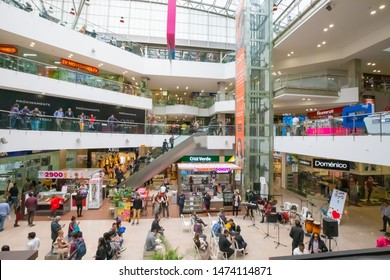 Bogota Colombia July 7 Interior view of Chile mall located in Northern Bogota. Appreciated by locals  as it is full of shops, restaurants and movie houses. Shoot on July 7, 2019