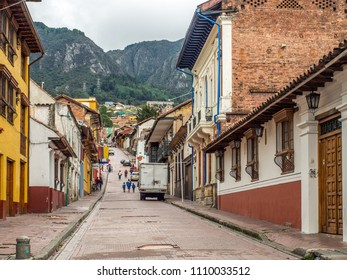 Bogota, Colombia - May 01, 2016: Colourful houses in  Bogota