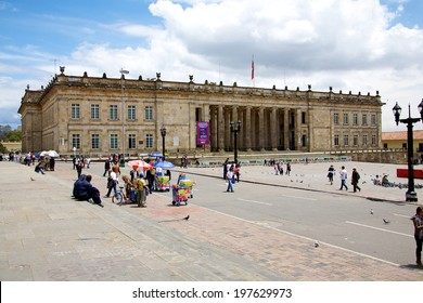 BOGOTA, COLOMBIA - MAY 06, 2014: The National Capitol situated in Plaza de Bolivar a historic square in the heart of Bogota. Building of the National Capitol started in 1846 and was finished in 1926