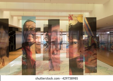 BOGOTA, COLOMBIA - MAY 5: Interior of the Gold Musuem in Bogota with huge map and hanging portraits of people. Colombia 2015