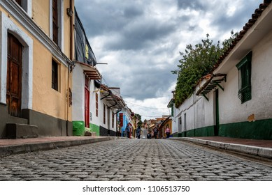 BOGOTA, COLOMBIA - NOV 13: Scene in the Candelaria neighborhood of Bogota, Colombia on November 13, 2017. The area is known for its colonial architecture.