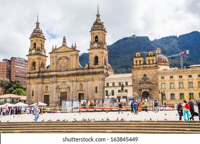BOGOTA, COLOMBIA - NOV 18: Bolivar Simon Square and the Cathedral on November 18, 2013 in Bogota, Colombia. The Cathedral is located in the famous and historical area called Candelaria.