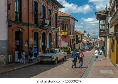 BOGOTA, COLOMBIA - November, 20: Street of Candelaria district of Bogota on November, 20, 2009 in Bogota, Colombia