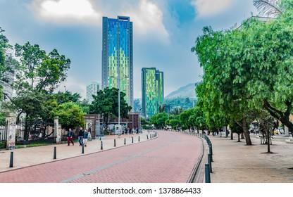BOGOTA, COLOMBIA - NOVEMBER 24, 2017: Famous street in the center of the city called Eje Ambiental or Paseo de la Avenida Jiménez de Quesada.