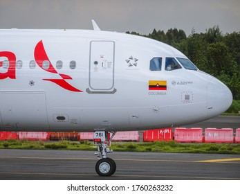 Bogota, Colombia - October 21, 2017: Colombian carrier Avianca's Airbus A321 NEO getting ready for takeoff from Eldorado Airport in Bogota, Colombia
