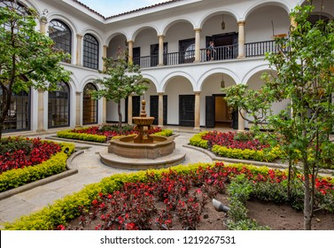 BOGOTA, COLOMBIA - OCTOBER 22, 2015: Building of the Botero Museum, owned by Bank of Republic.