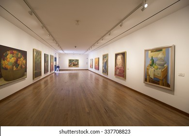 BOGOTA, COLOMBIA - OCTOBER 22, 2015: Interior of the Botero Museum. The art collection donated by Colombian master artist Botero is considered the most important donation in the Country's history.