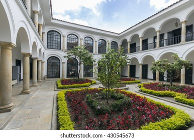 BOGOTA, COLOMBIA - OCTOBER 22, 2015: Exterior of the Botero Museum. The art collection donated by Colombian master artist Botero is considered the most important donation in the Country's history.